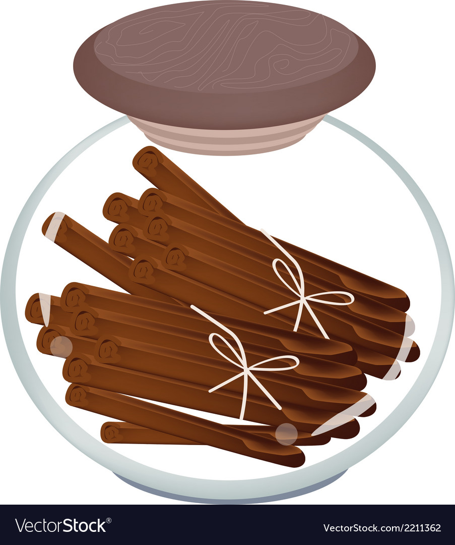 Jar of cinnamon sticks on white background vector | Price: 1 Credit (USD $1)