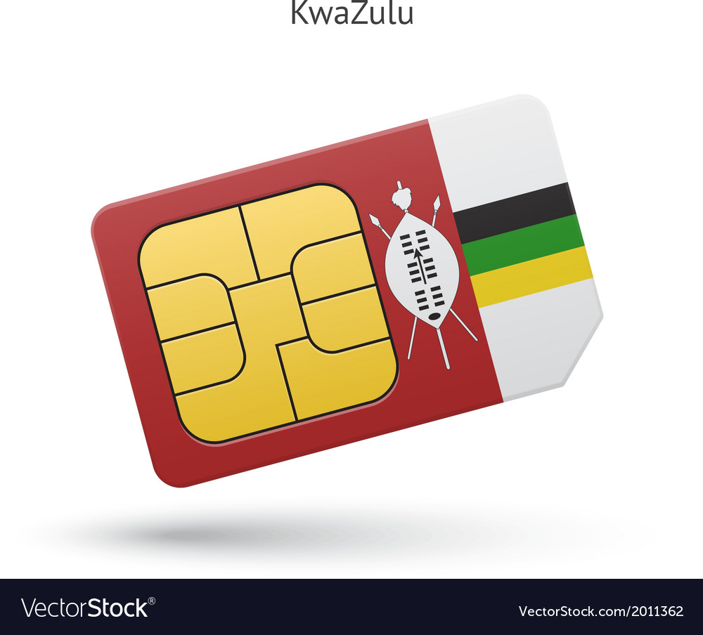 Kwazulu mobile phone sim card with flag vector | Price: 1 Credit (USD $1)
