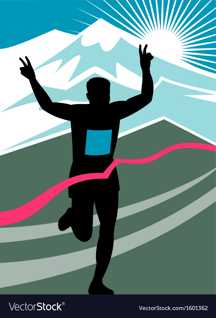 Marathon runner finish line vector | Price: 1 Credit (USD $1)