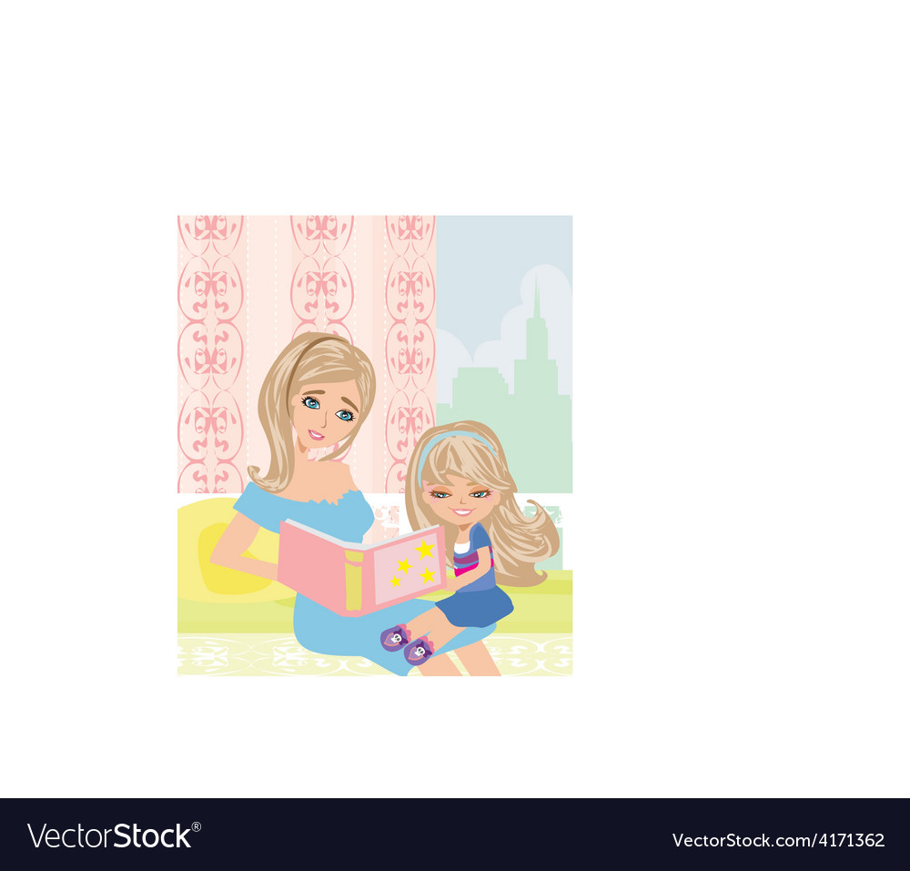 Mom reading a book to her kid vector | Price: 1 Credit (USD $1)