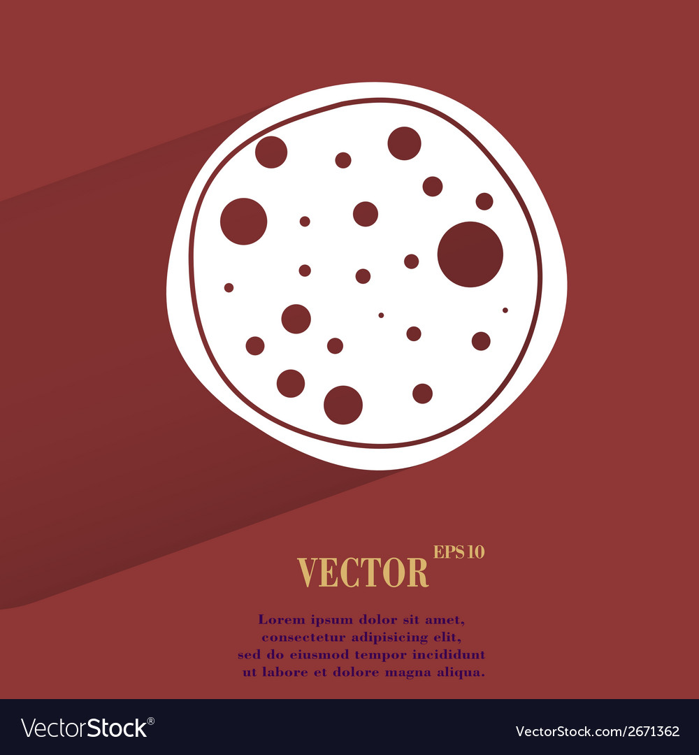 Pizza flat modern web button with long shadow and vector | Price: 1 Credit (USD $1)