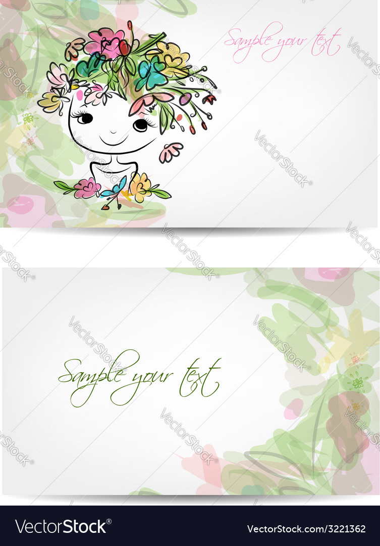 Postcard floral design with cute girl sketch vector | Price: 1 Credit (USD $1)