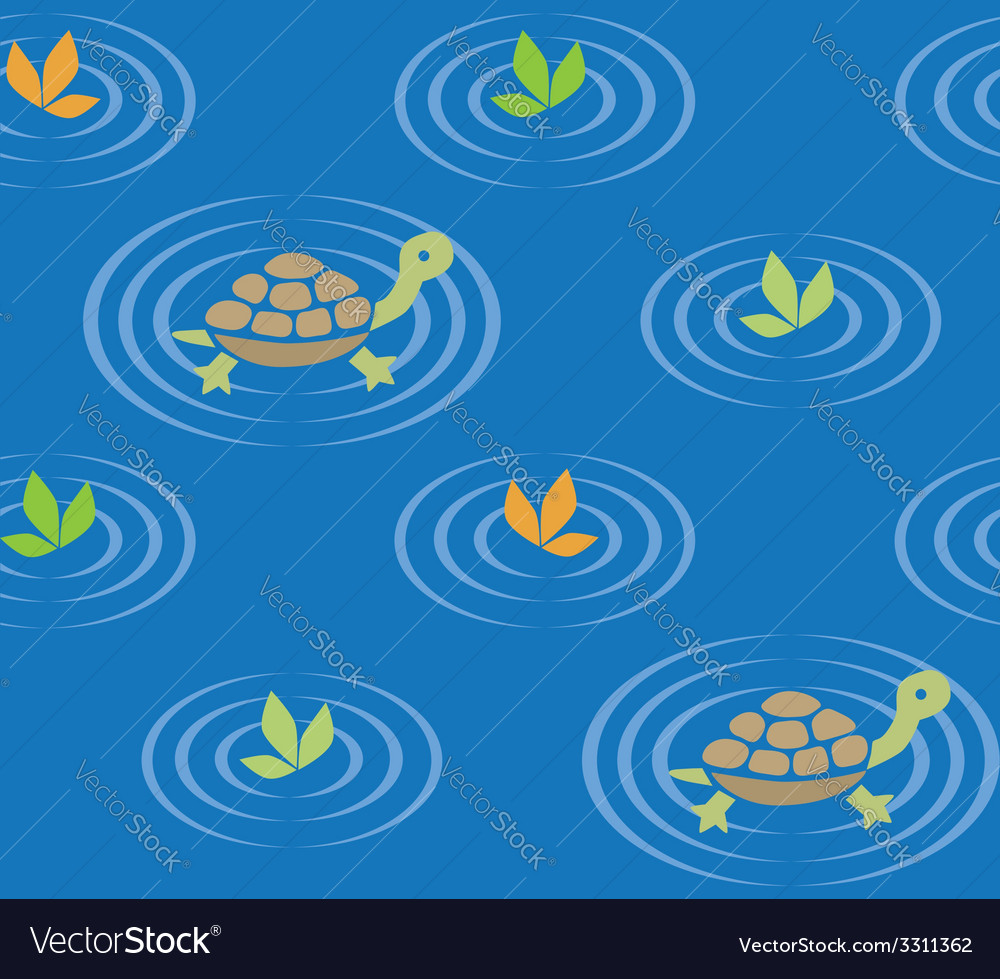 Seamless pattern with funny swiming turtles vector | Price: 1 Credit (USD $1)