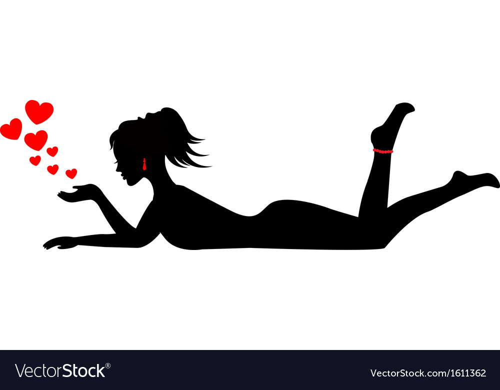 Silhouette of a woman lying on her stomach vector | Price: 1 Credit (USD $1)