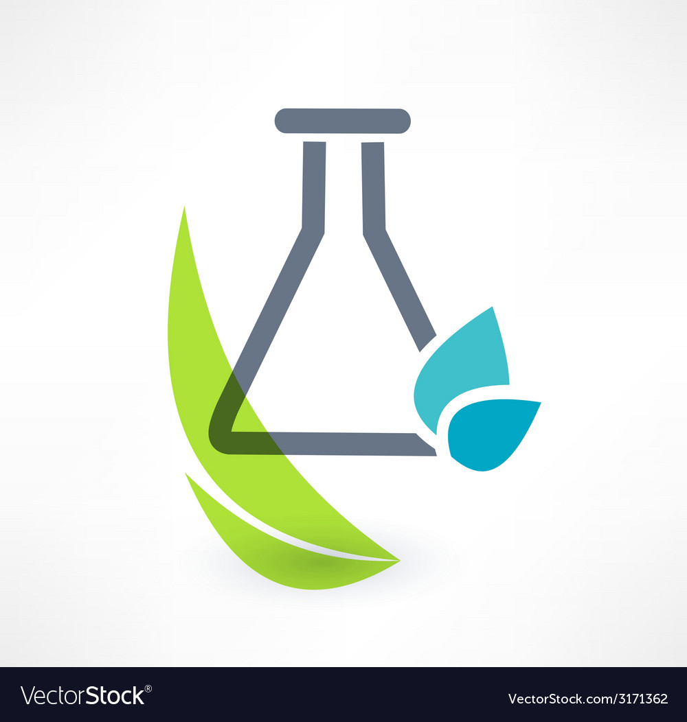 Test tube with leaf icon concept of organic vector | Price: 1 Credit (USD $1)