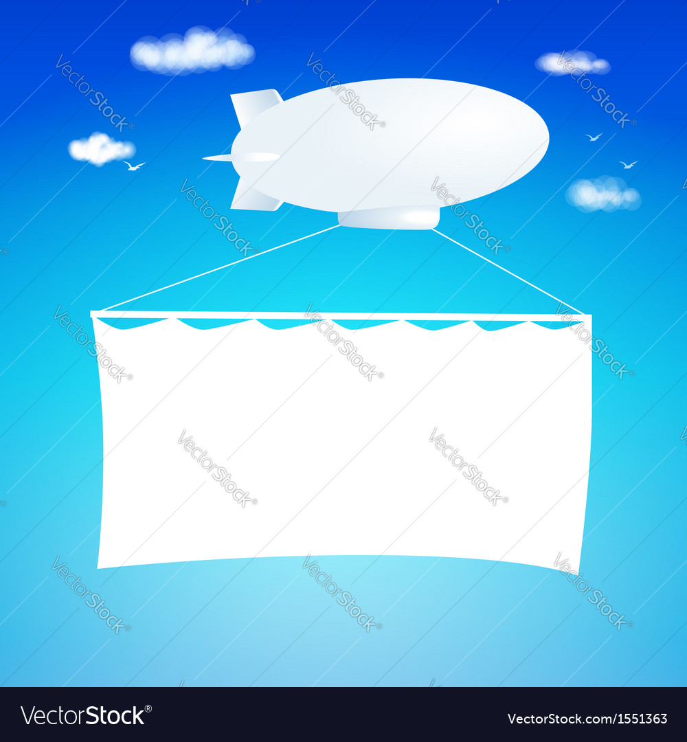 Airship cut from paper with banner vector | Price: 1 Credit (USD $1)