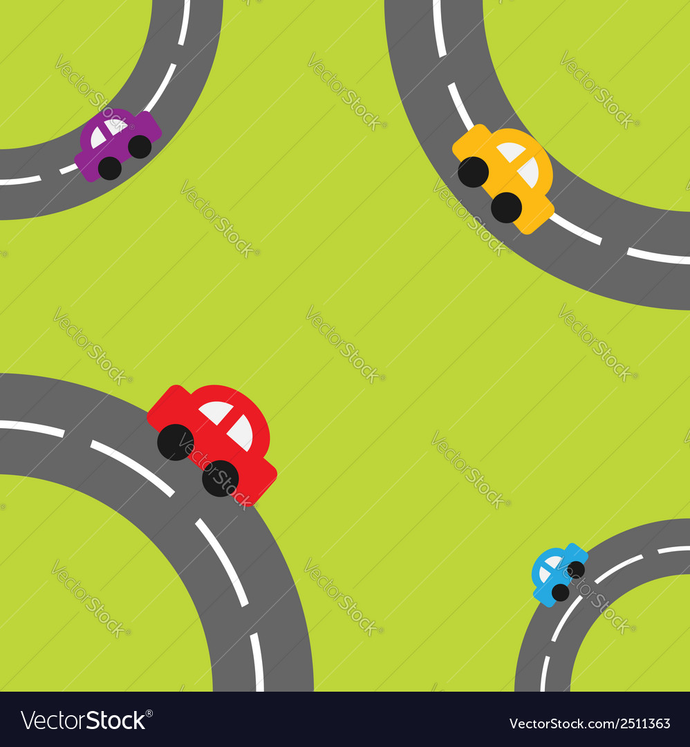 Background with roads corners and cartoon cars vector | Price: 1 Credit (USD $1)