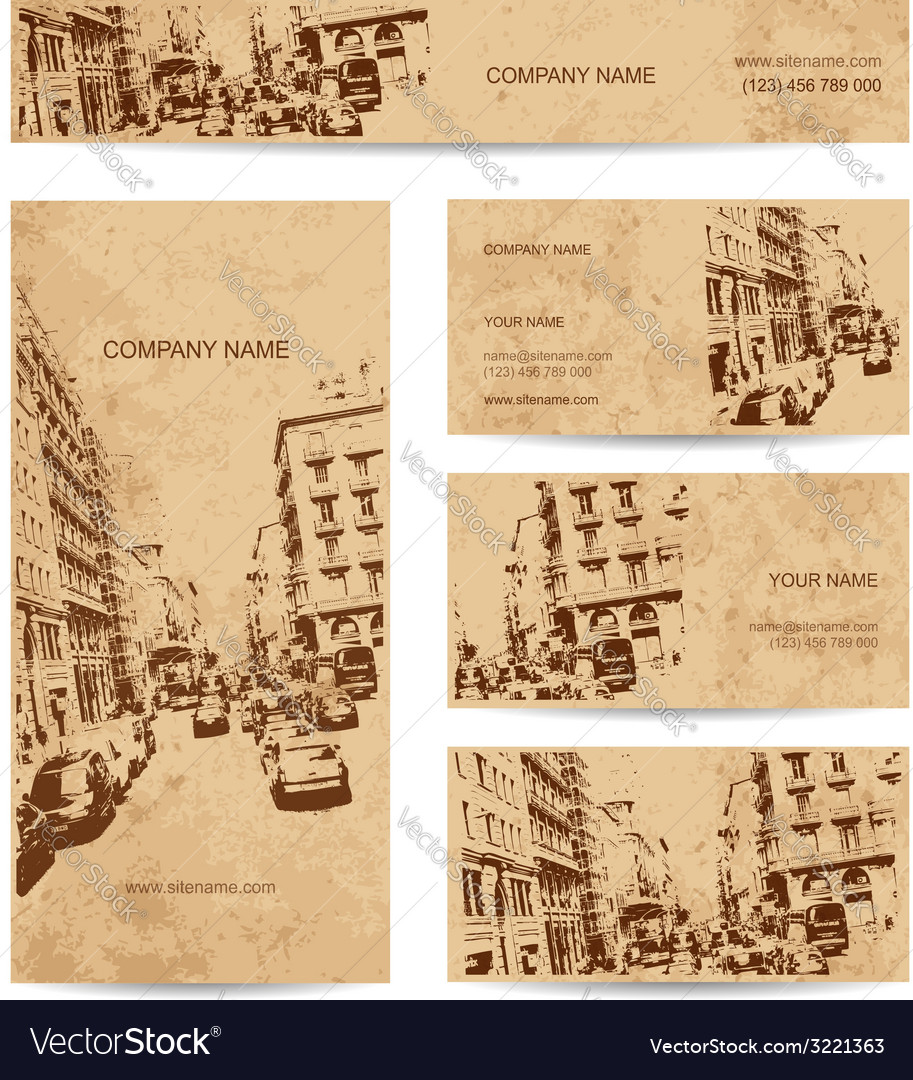 Business card urban design street of barcelona vector | Price: 1 Credit (USD $1)