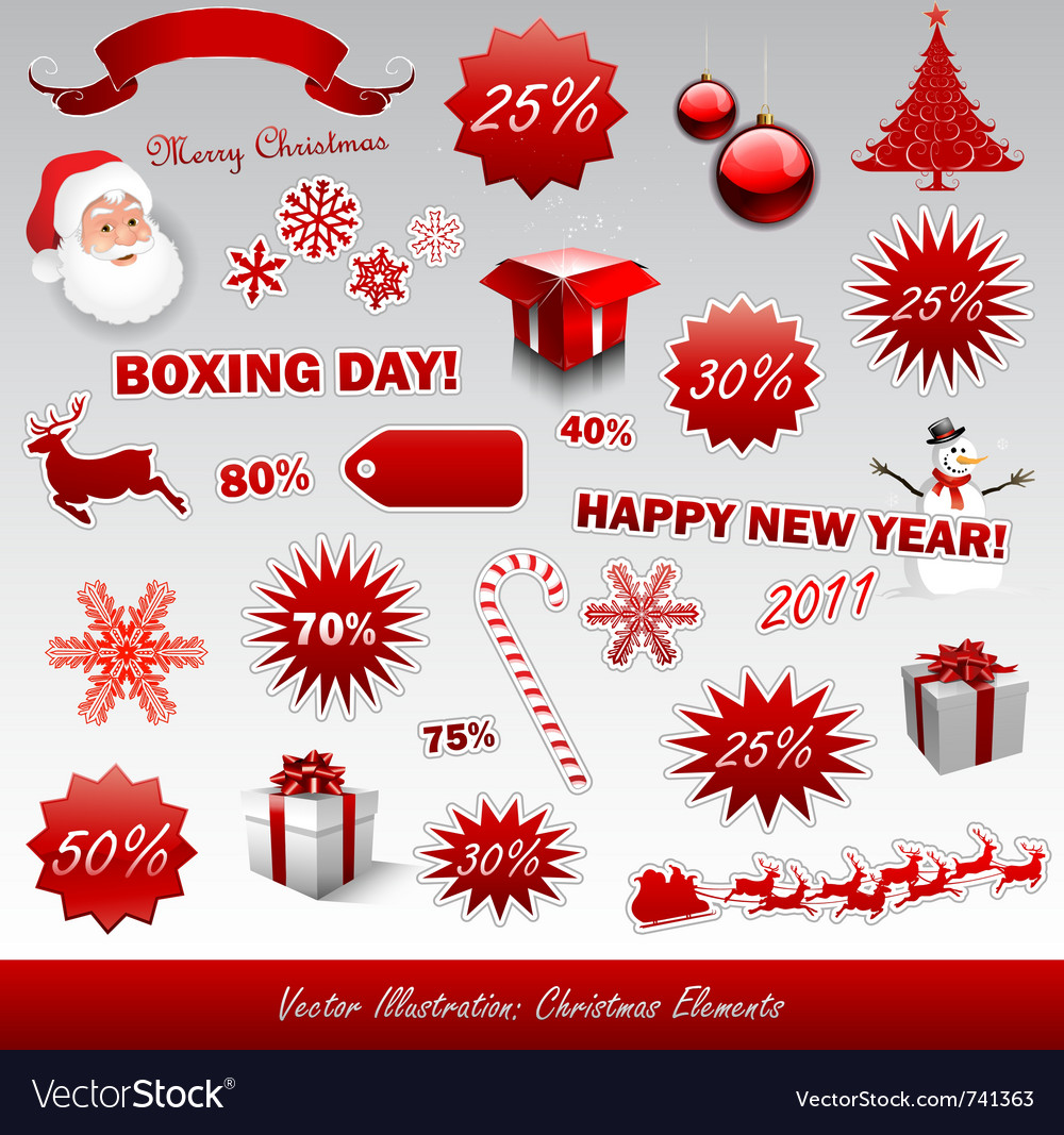 Christmas boxing day icons collection vector | Price: 1 Credit (USD $1)