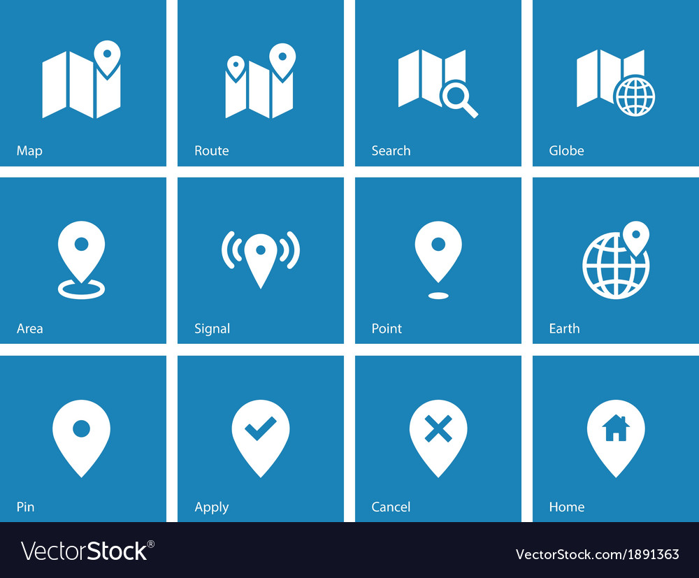 Map icons on blue background gps and navigation vector | Price: 1 Credit (USD $1)