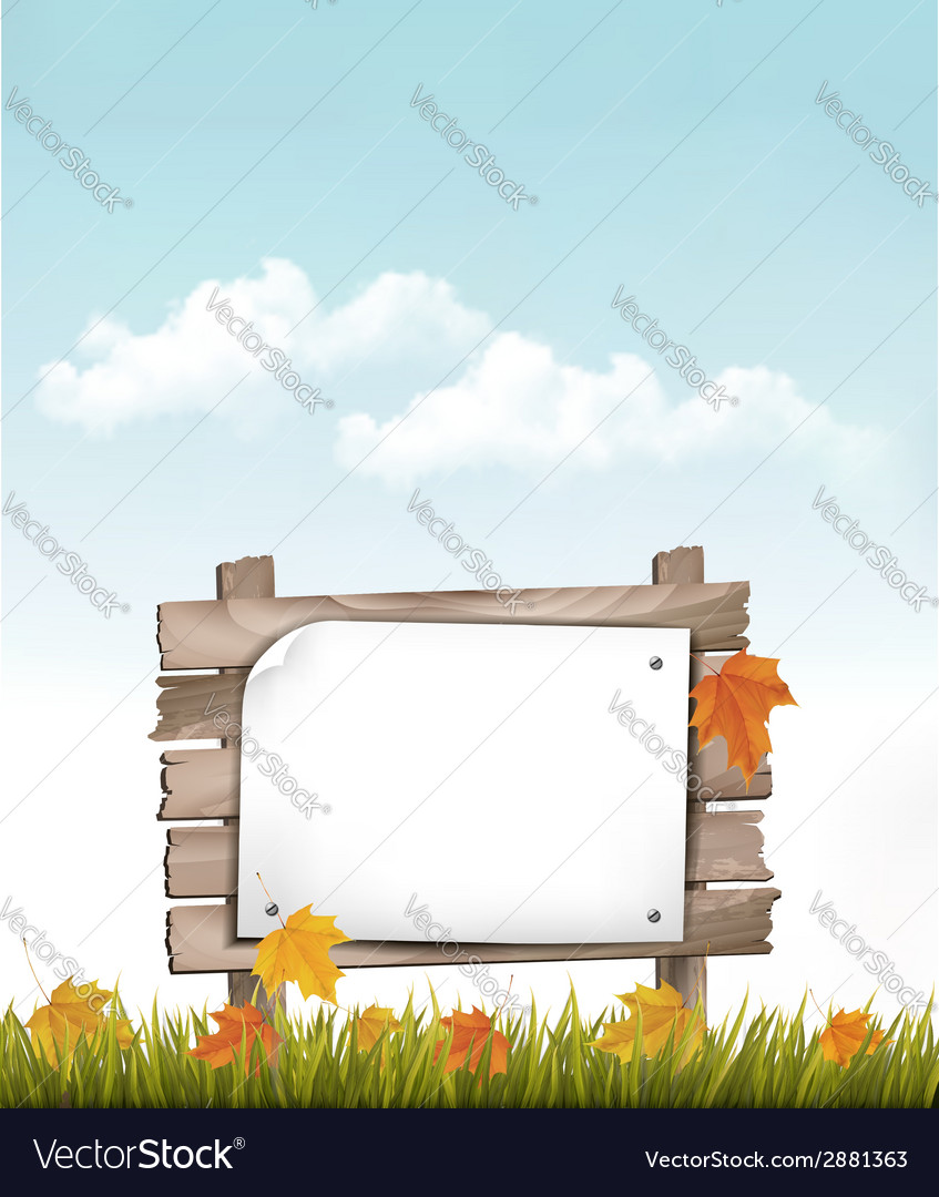 Nature background with autumn leaves and wooden vector | Price: 3 Credit (USD $3)