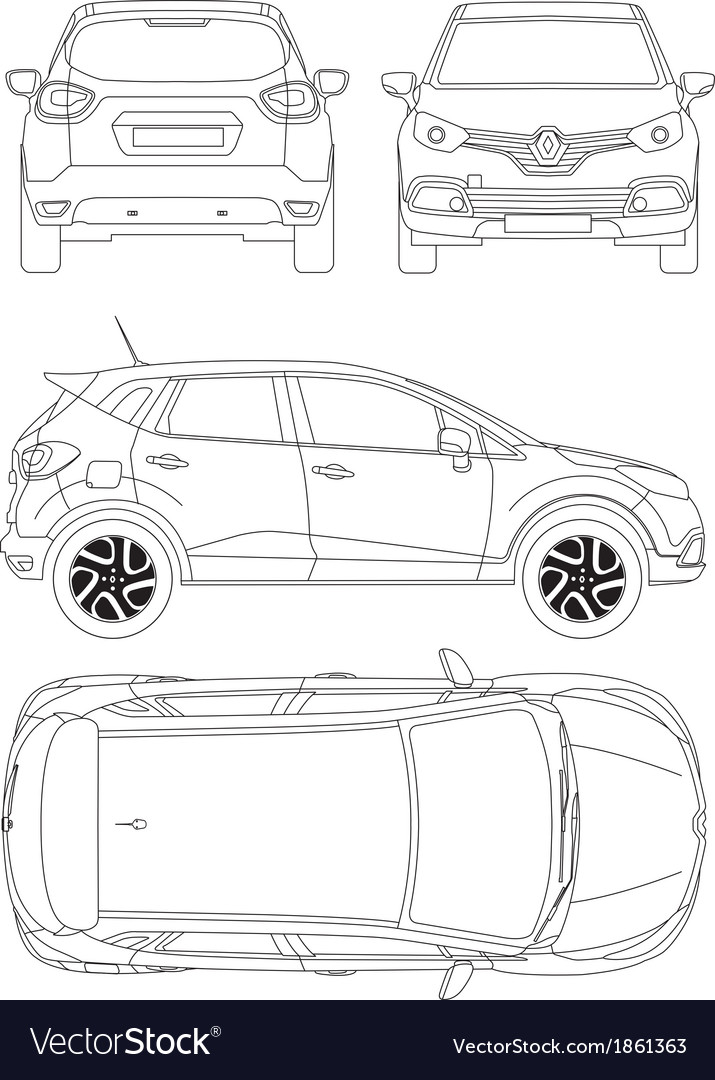 Renault captur car blueprint vector | Price: 1 Credit (USD $1)