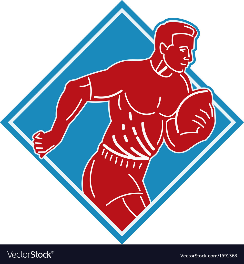 Rugby player running with the ball vector | Price: 1 Credit (USD $1)