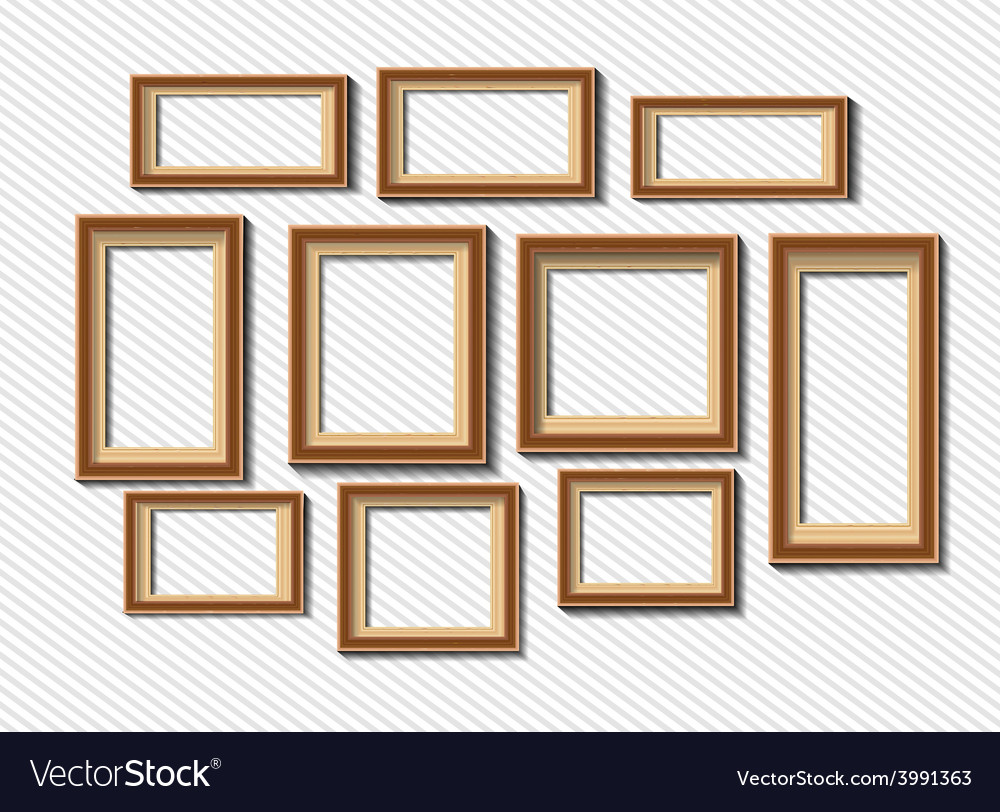 Set of white photo frames on grey background vector | Price: 1 Credit (USD $1)