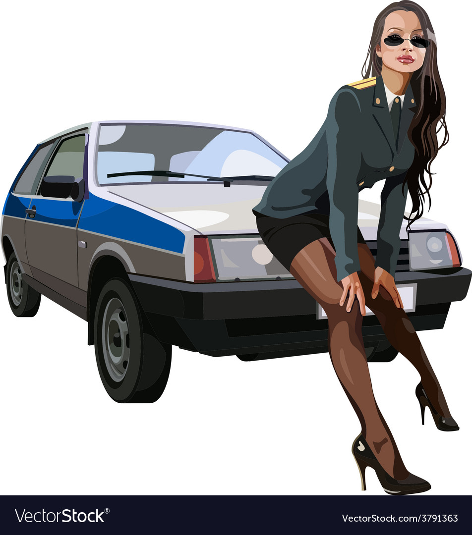 Sexy woman in police uniform leaned against vector | Price: 1 Credit (USD $1)