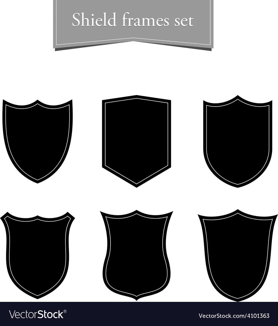Shield logo backgrounds set black frame vector | Price: 1 Credit (USD $1)