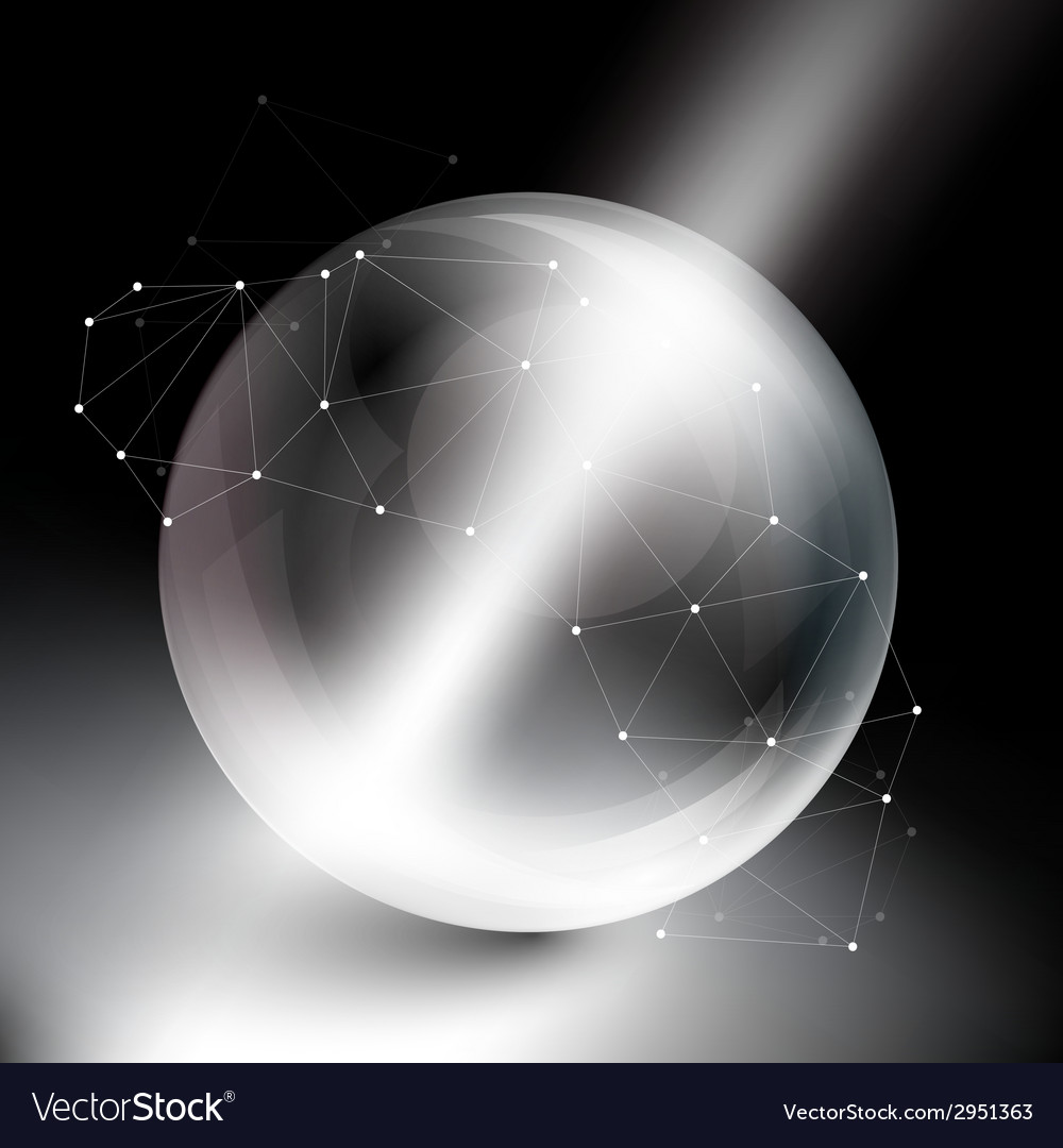 Sphere on black background in rays of light vector | Price: 1 Credit (USD $1)