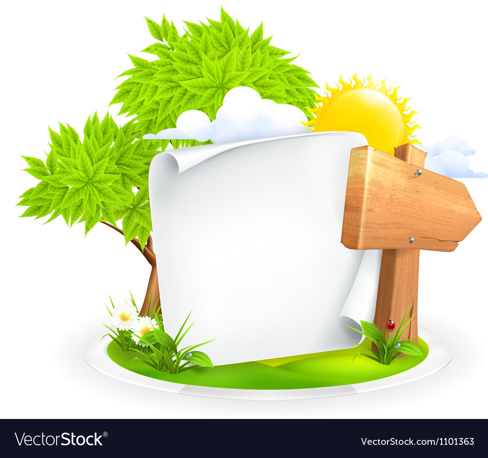 Spring landscape with a wooden pointer vector | Price: 1 Credit (USD $1)