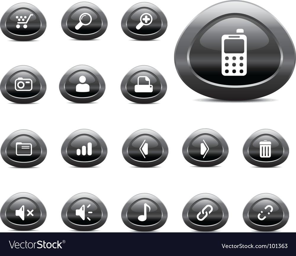 Web icons black chrome vector | Price: 1 Credit (USD $1)