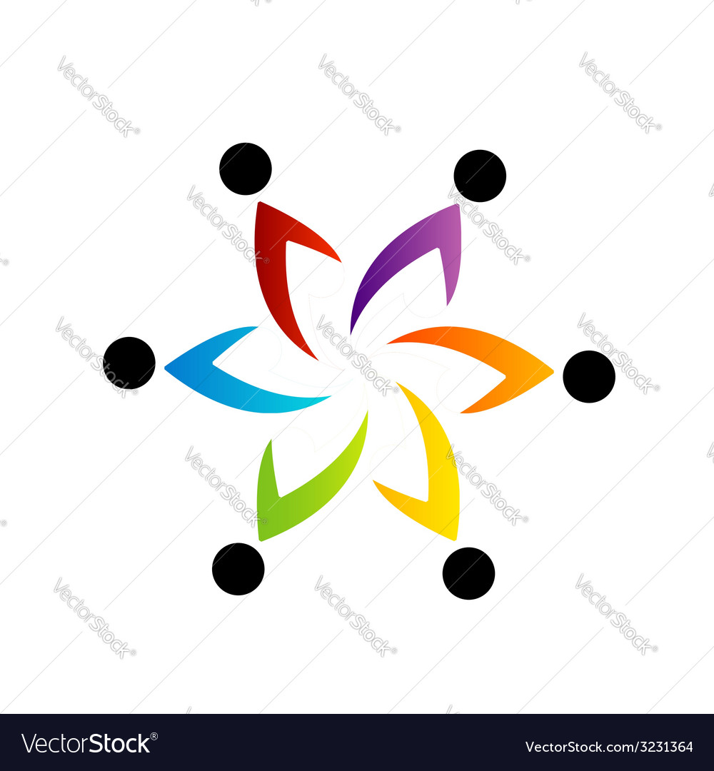 Abstract people together showing teamwork vector | Price: 1 Credit (USD $1)
