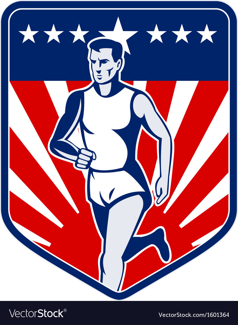 American marathon runner stars and stripes vector | Price: 1 Credit (USD $1)
