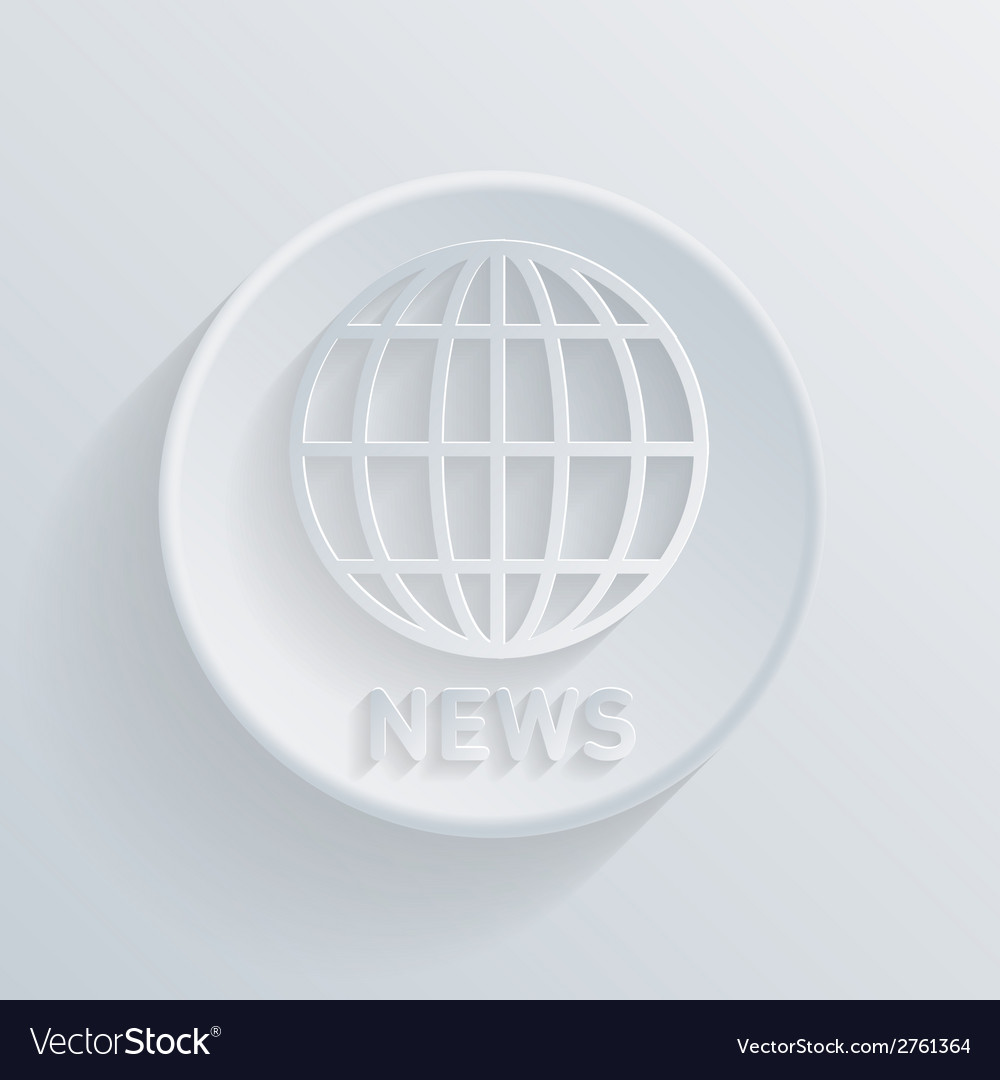 Circle icon with a shadow globe symbol news vector | Price: 1 Credit (USD $1)