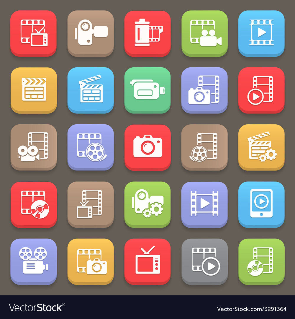 Film and movie icons for web or mobile vector   Price: 1 Credit (USD $1)