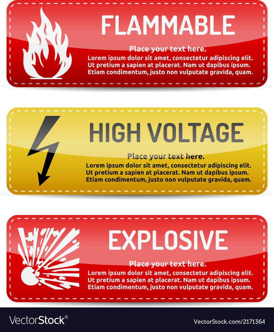 Flammable high voltage explosive - danger sign set vector | Price: 1 Credit (USD $1)
