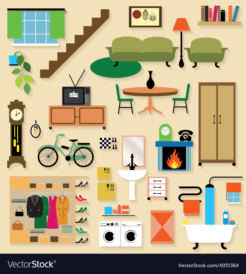 Furniture set for rooms of house vector | Price: 1 Credit (USD $1)