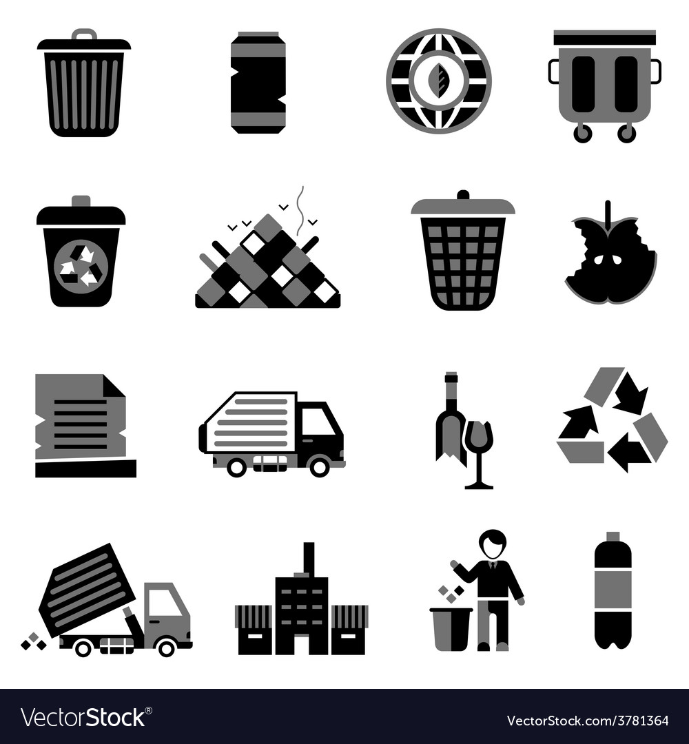 Garbage icons black vector | Price: 1 Credit (USD $1)