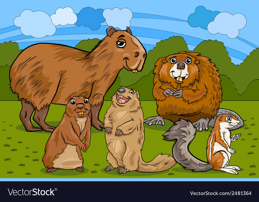 Rodents animals cartoon vector | Price: 1 Credit (USD $1)
