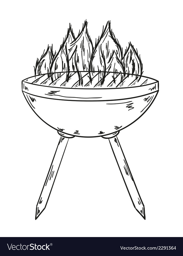 Sketch of the grill with big flames vector | Price: 1 Credit (USD $1)