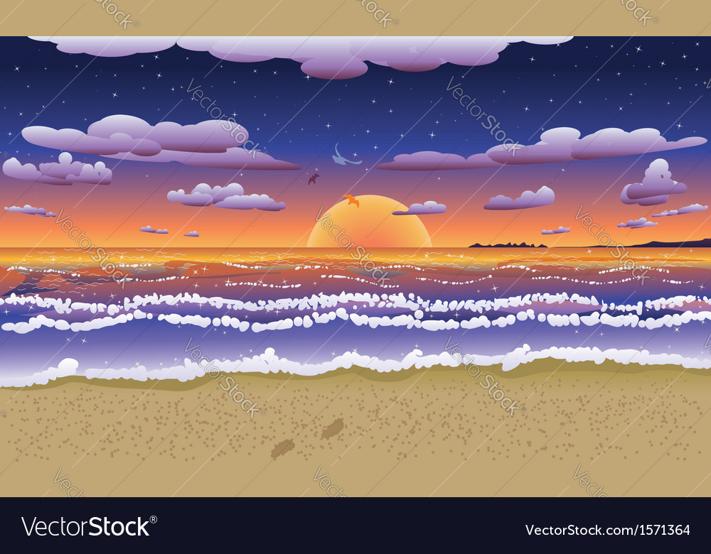 Sunset on tropical beach2 vector | Price: 1 Credit (USD $1)