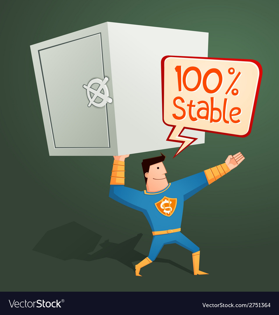Superhero guarding a deposit box vector | Price: 1 Credit (USD $1)