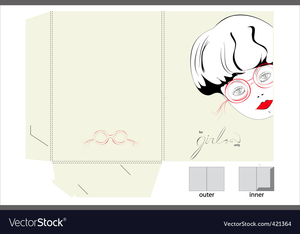 Template for folder with girl vector | Price: 1 Credit (USD $1)