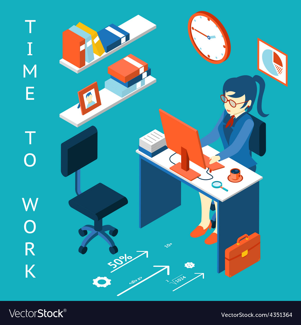 Time to work concept business corporate process vector | Price: 1 Credit (USD $1)