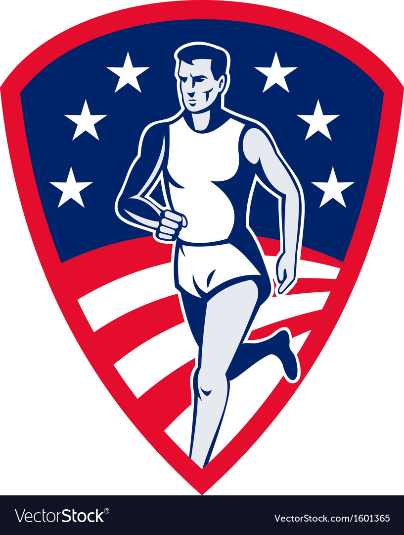 American marathon athlete sports runner shield vector | Price: 1 Credit (USD $1)