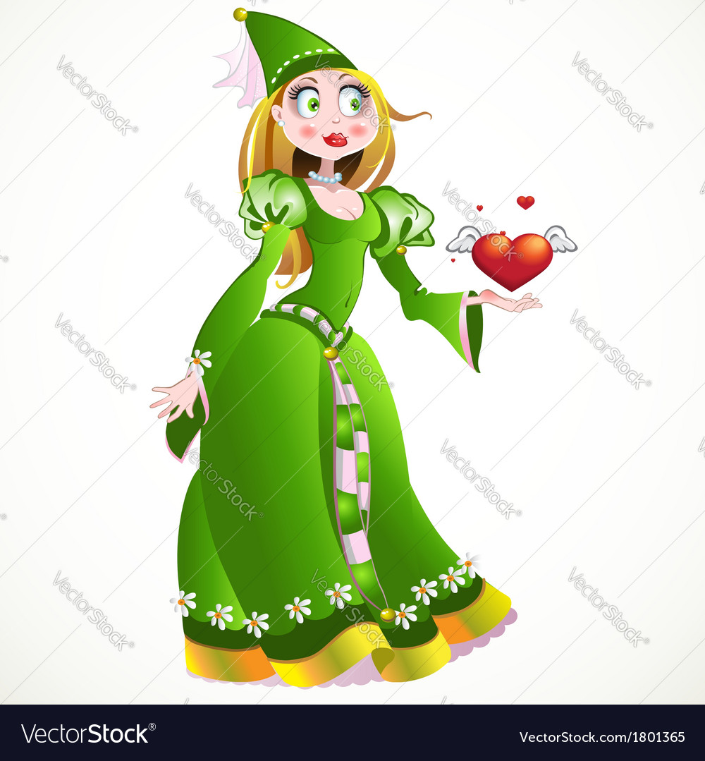 Charming princess in a green dress giving heart vector | Price: 3 Credit (USD $3)
