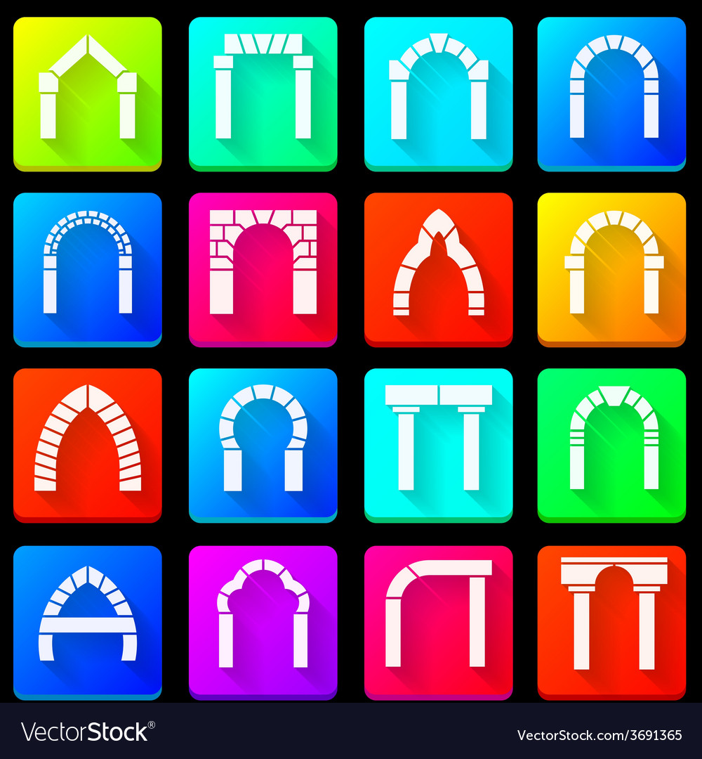 Colored icons collection of arches vector | Price: 1 Credit (USD $1)