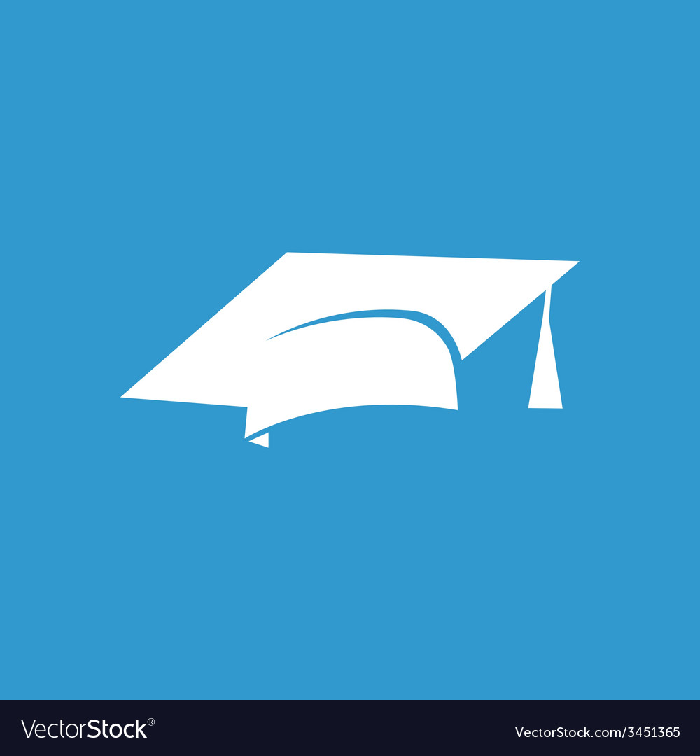 Education icon white on the blue background vector | Price: 1 Credit (USD $1)