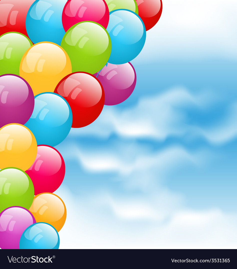 Flying colourful balloons in blue sky - vector | Price: 1 Credit (USD $1)