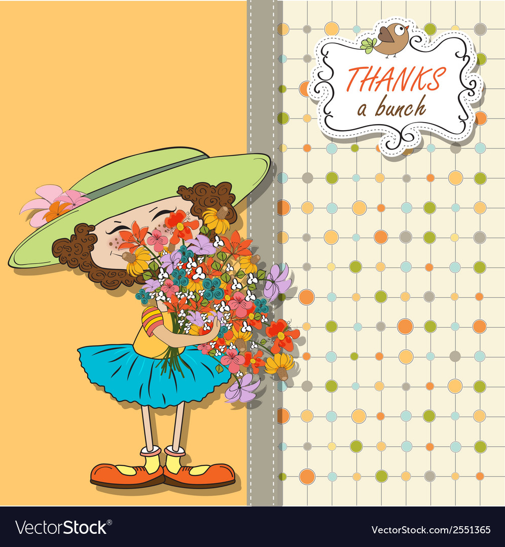 Funny girl with a bunch of flowers vector | Price: 1 Credit (USD $1)