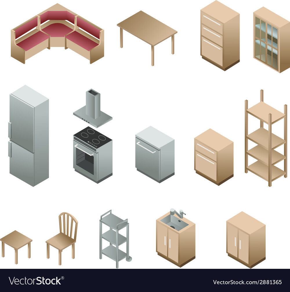 Isometric wooden furniture for kitchen vector | Price: 1 Credit (USD $1)