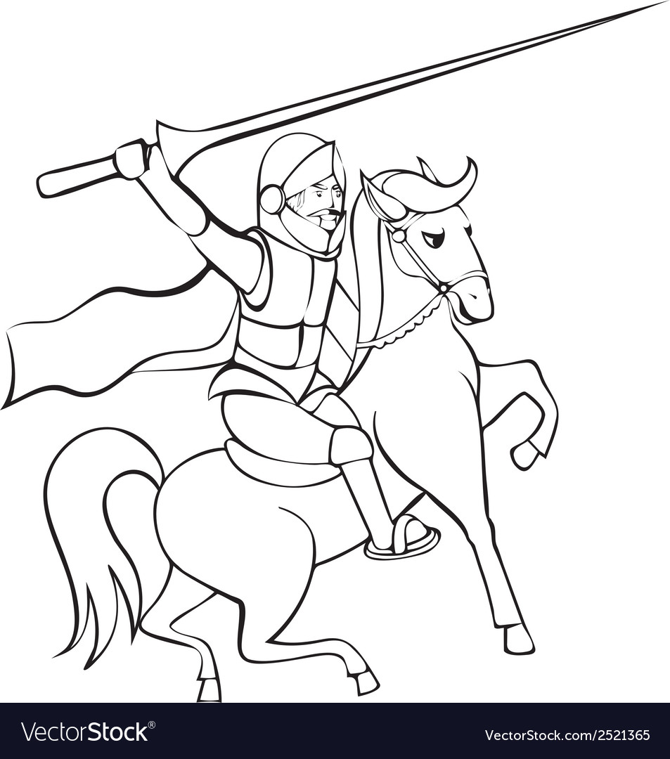 Knight with lance on horseback vector | Price: 1 Credit (USD $1)