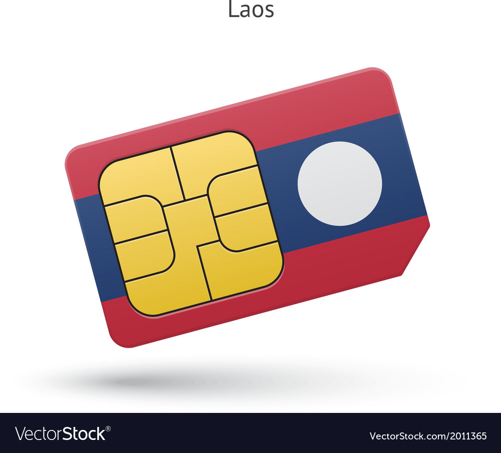 Laos mobile phone sim card with flag vector | Price: 1 Credit (USD $1)