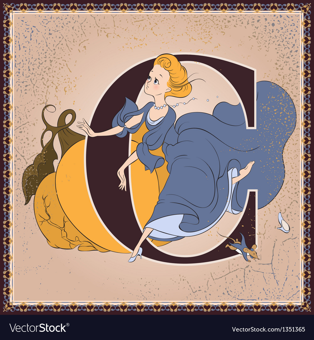 Letter c cinderella by charles perrault vector | Price: 3 Credit (USD $3)