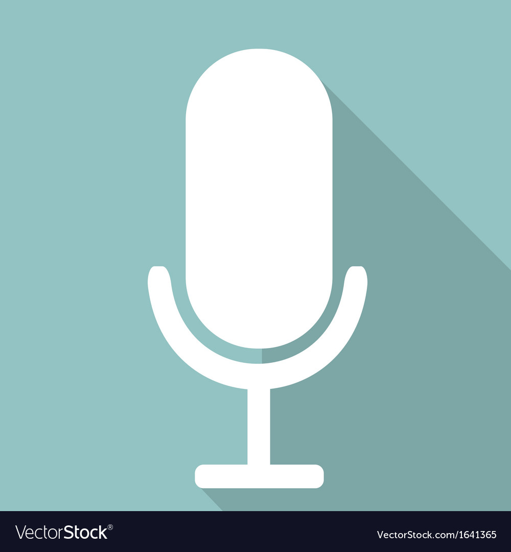 Microphone web icon flat design vector | Price: 1 Credit (USD $1)
