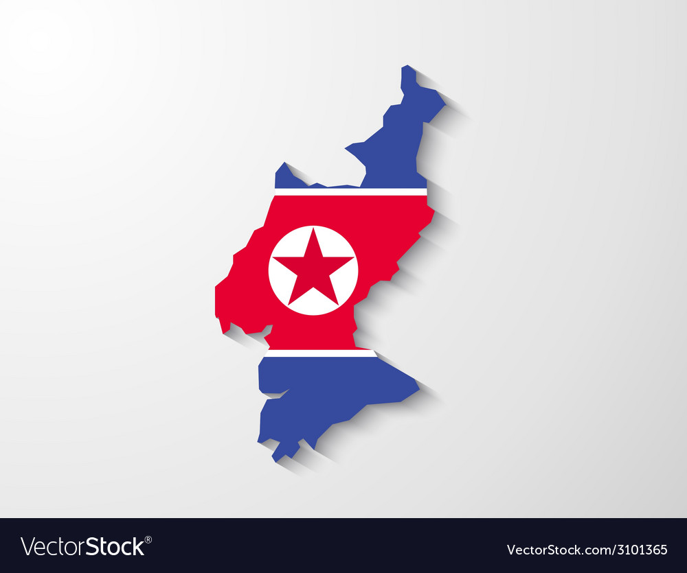 North korea country map with shadow effect vector | Price: 1 Credit (USD $1)