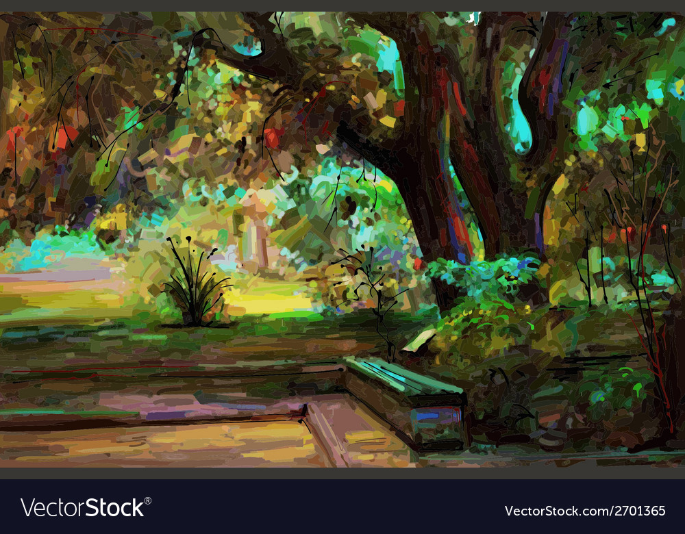 Original landscape painting park in spring vector | Price: 1 Credit (USD $1)