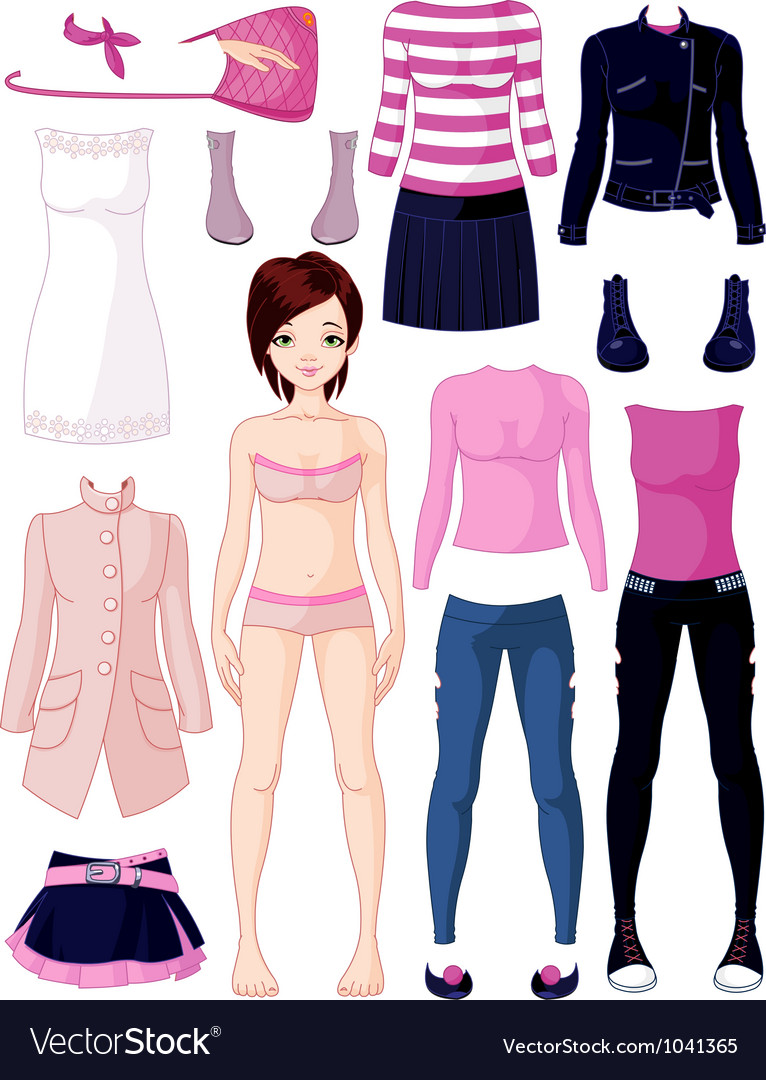 Paper doll with clothing vector | Price: 3 Credit (USD $3)